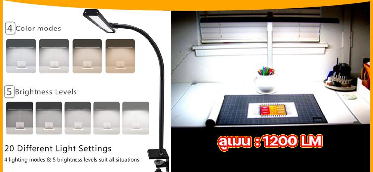 โคมไฟตั้งโต๊ะ ทำงาน เขียนแบบ Touch ควบคุมด้วย 4 อุณหภูมิสี LED ป้องกันดวงตาศูนย์รังสี Lumen 1200LM ตัวใหม่ ปี2021